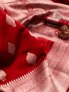 Red color soft banarasi silk saree with zari weaving pallu