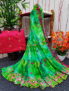 Green color soft georgette saree with printed and foil embroidery work