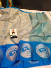 Blue and silver color tissue silk saree with zari weaving work