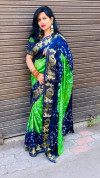 Parrot green color hand bandhej bandhani saree