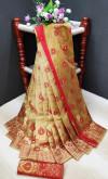 Chiku color soft lichi silk Weaving Jacquard work saree