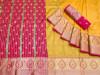 Yellow color soft banarasi silk jacquard weaving saree