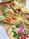 Yellow color linen silk digital printed saree