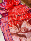 Red lichi soft silk saree with zari weaving work
