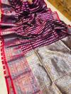 Magenta lichi soft silk saree with zari weaving work