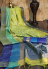Mehndi green color raw silk saree with embroidered cut work