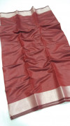 Maroon color soft linen silk saree