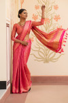 Pink color soft kanchipuram silk saree with zari border