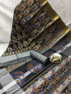 Black color banglori raw silk saree with zari weaving border