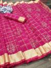 Pink color handloom kota doriya saree with zari woven border