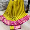 Yellow color soft cotton silk saree