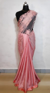 Georgette satin saree with heavy net work