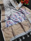 Gray color linen weaving saree