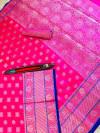 Pink color lichi silk saree with silver zari work