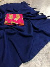 Blue color vichitra silk saree