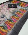 Black color soft linen cotton saree with kalamkari digital print