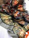 Black color linen silk digital printed saree