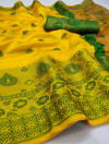 Yellow color soft lichi silk Weaving Jequard work saree