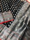 Black color lichi silk saree with silver zari work