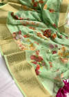 Green color linen silk digital printed saree