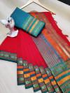 Red color manipuri kota doriya cotton saree