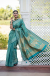 Rama green color soft kanchipuram silk saree with zari border