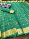 Green color handloom kota doriya saree with zari woven border