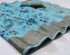 Firoji color linen saree with jacquard border