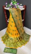 Yellow color soft lichi silk Weaving Jacquard work saree