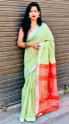 Parrot green color soft cotton saree