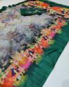 Green color soft linen cotton saree with kalamkari digital print
