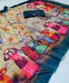 Rama green soft linen cotton saree with kalamkari digital print