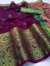 Wine color soft lichi silk Weaving Jequard work saree