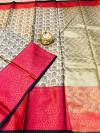 Off white color soft kora muslin silk saree