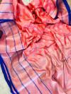 Peach color lichi silk saree with silver zari work