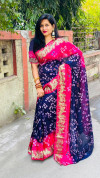 Navy blue color hand bandhej bandhani saree