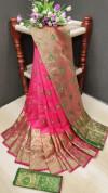 Gajari color soft lichi silk Weaving Jacquard work saree