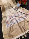 Cream color linen weaving saree