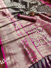Wine color pure kanchipuram silk saree with contrast pallu