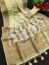 Pista green color linen weaving saree
