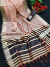 Peach color banglori silk weaving saree with zari border