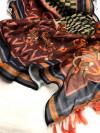 maroon color linen silk digital printed saree
