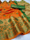 Orange color soft lichi silk Weaving Jequard work saree