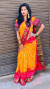 yellow color hand bandhej bandhani saree