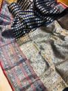 Navy blue lichi soft silk saree with zari weaving work