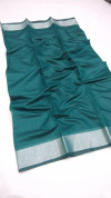 Rama green color soft linen silk saree