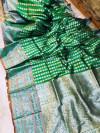 Green lichi soft silk saree with zari weaving work