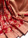 Red color soft banarasi silk saree with golden zari weaving work