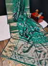 Rama green color mysore silk saree with golden and silver zari work