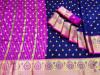 Navy blue color soft banarasi silk jacquard weaving saree